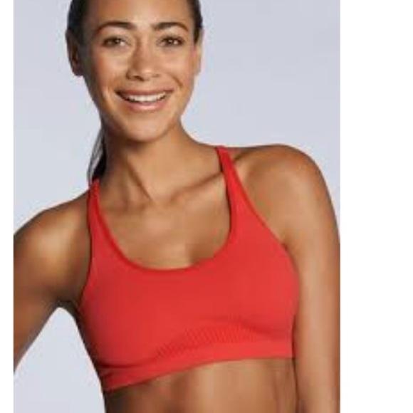 70e9a2dcedc Fabletics Samana Seamless Sports Bra-Red Orange